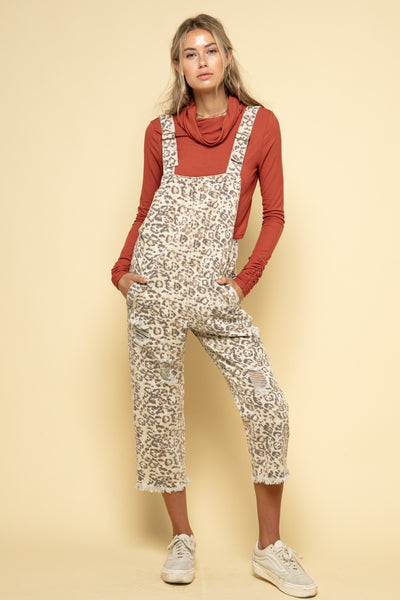 Animal Print Denim Overalls