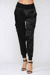 Satin Black Jogger Pants