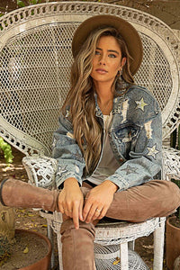 Star Patch Distressed Denim Jacket