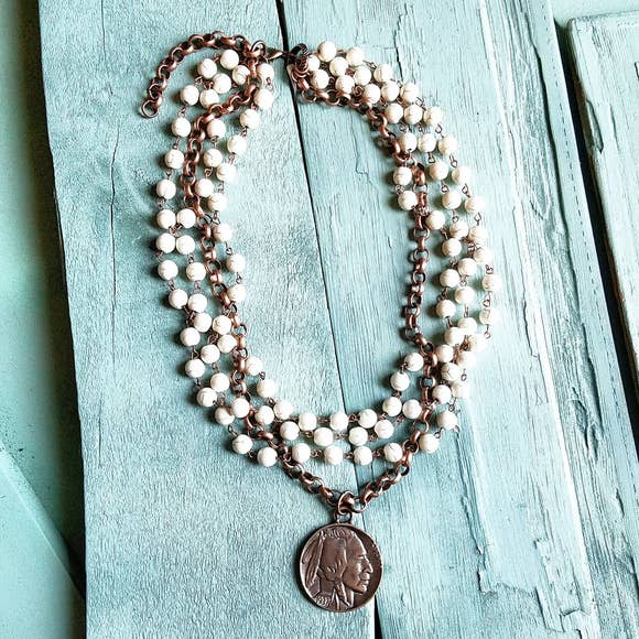 White Turquoise & Copper Necklace
