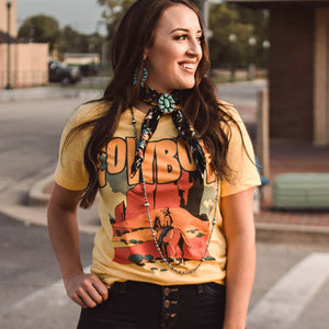 Cowboy Graphic Mustard Tee Shirt