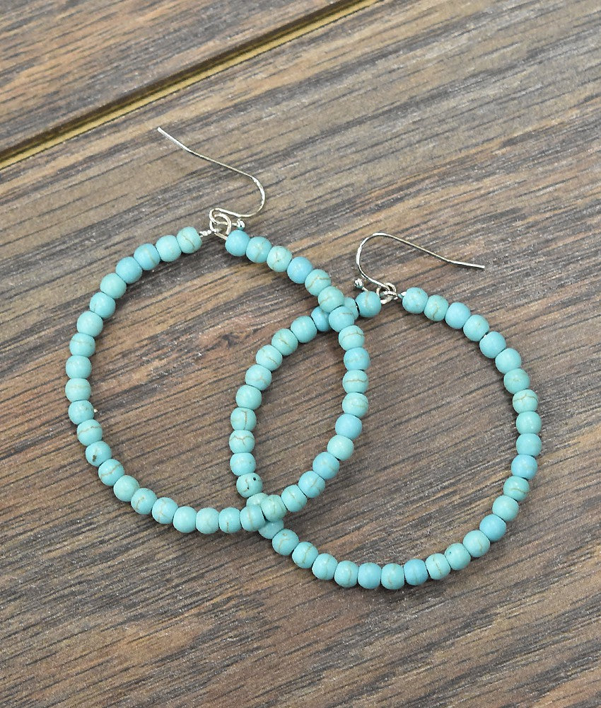 Medium Turquoise Bead Hoops