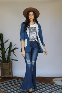 Retro Denim Color-Block Blazer