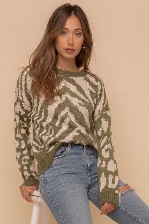 Olive Zebra Stripe Sweater