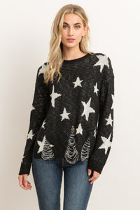 Distressed Star Sweater