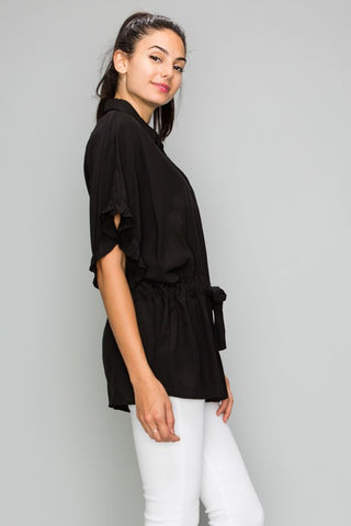Silky Black Drawstring Blouse
