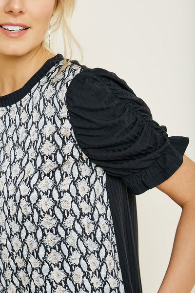 Snakeskin Puff Sleeve Top