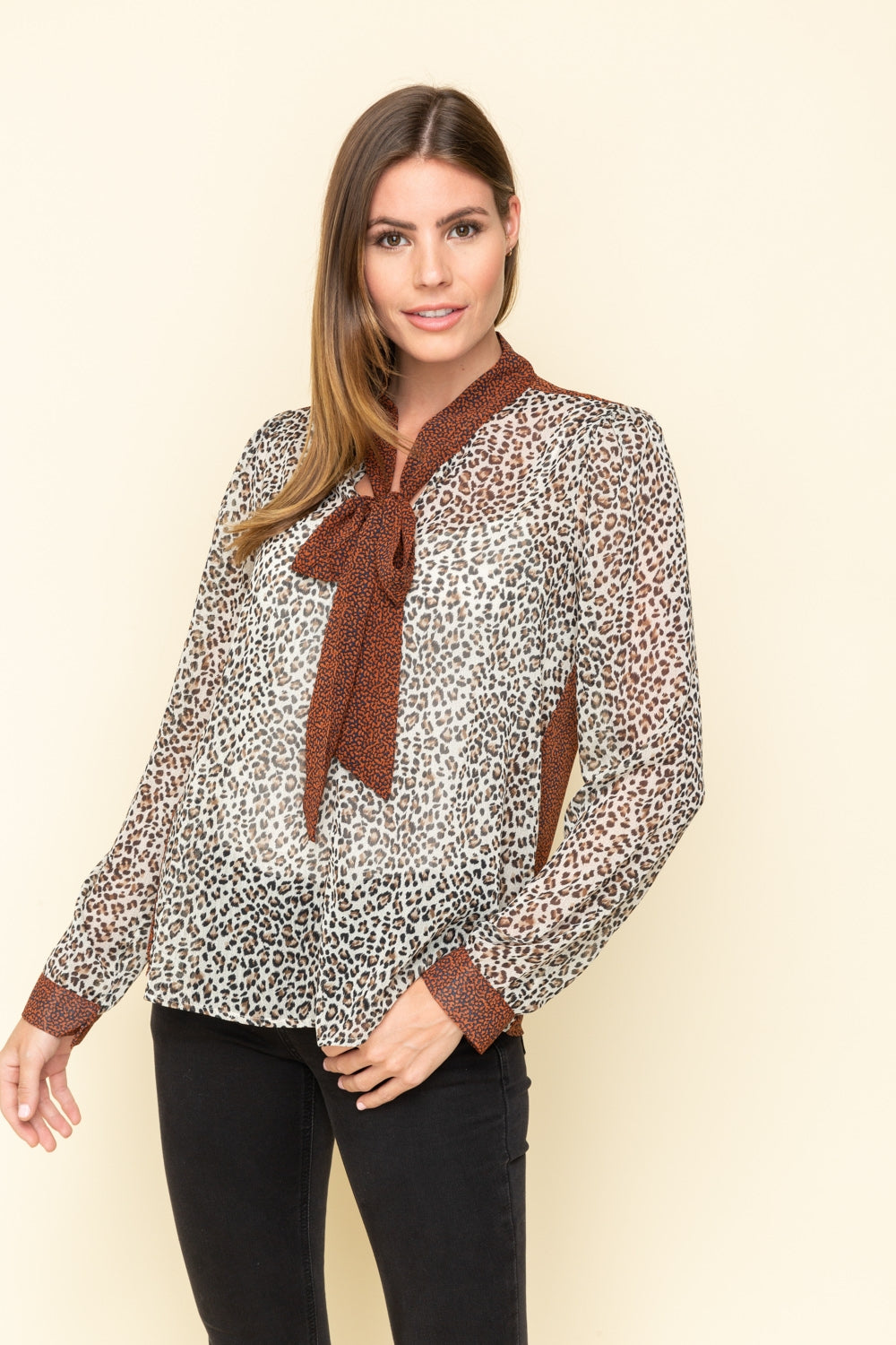 Sheer Leopard Print Blouse