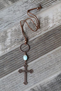 Antique Copper Cross Necklace