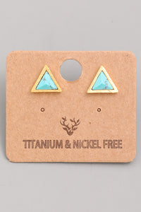 Mini Triangle Stone Studs