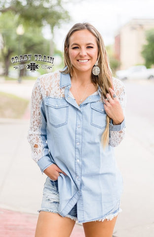 Denim & Lace Button Down Shirt