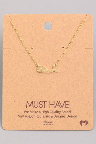Dainty Metallic Whale Pendant Necklace