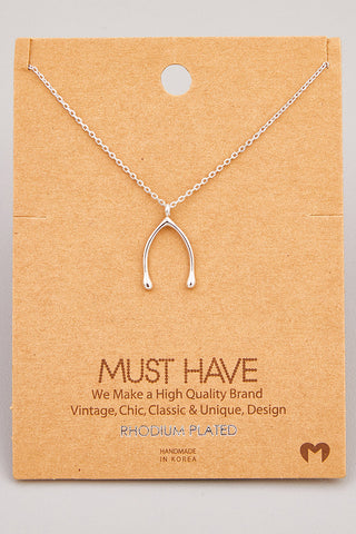 Dainty Wishbone Pendant Necklace