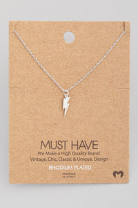Mini Silver Lightning Bolt Pendant Necklace