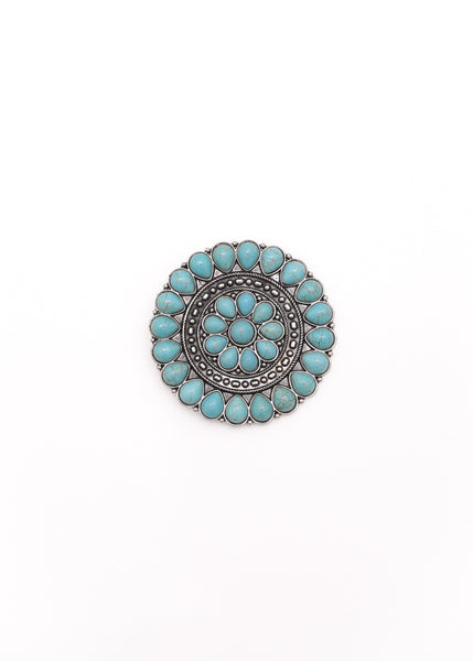 Turquoise Flower Concho Pin