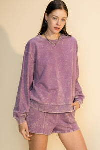 Purple Acid Wash Sweatshirt