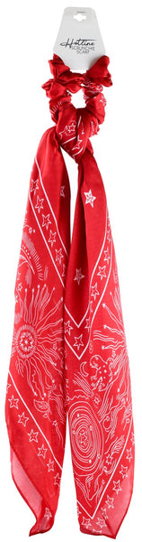 Silky Red Cosmic Scrunchie Scarf