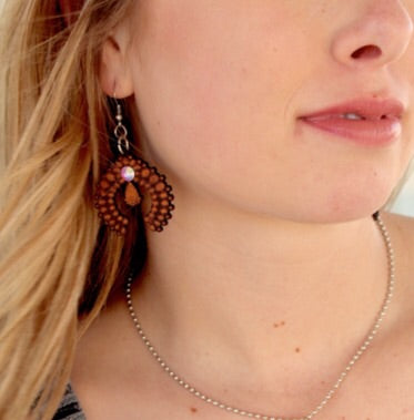 Laredo Leather Squash Blossom Earrings