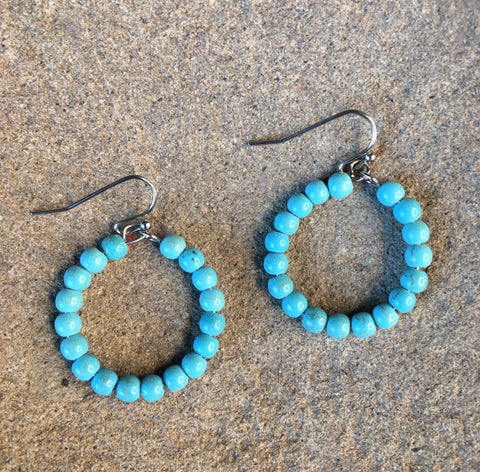Small Turquoise Bead Hoops