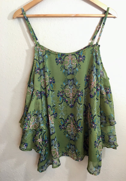 Green Boho Cold Shoulder Blouse