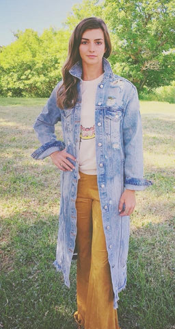Distressed Denim Duster