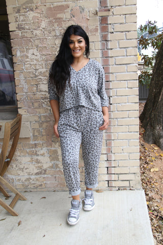 Grey Cheetah Boyfriend Top