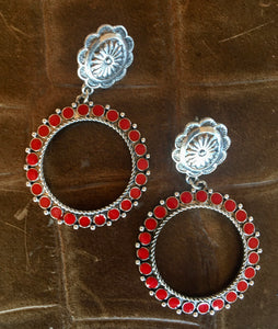 Red Stone Concho Hoops