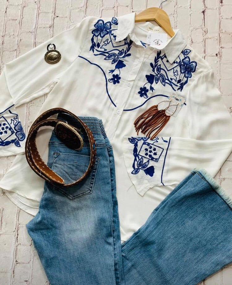Embroidered Western Top
