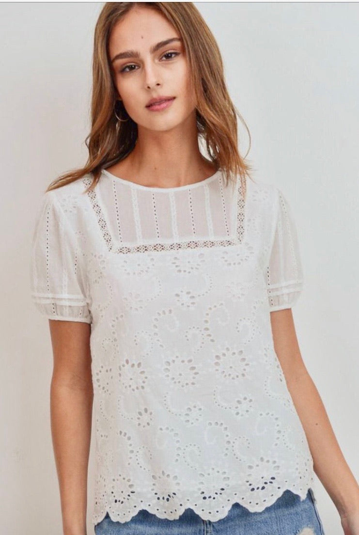 Eyelet Short Sleeve Blouse