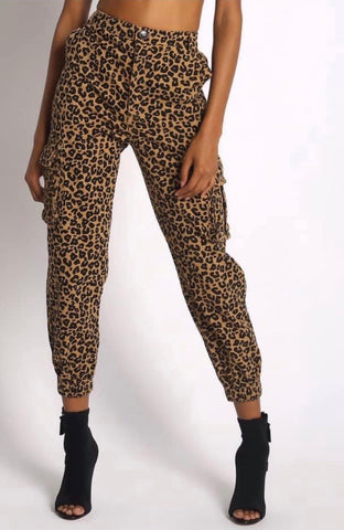 Brown Cheetah Denim Joggers