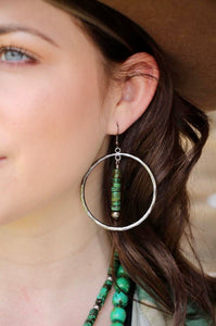 Green Roundell Silver Hoops