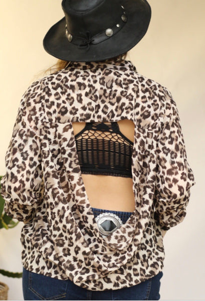 Cheetah Open Back Top