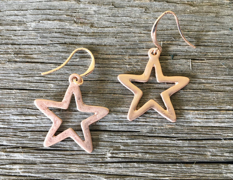 Rose Gold Cutout Star Earrings
