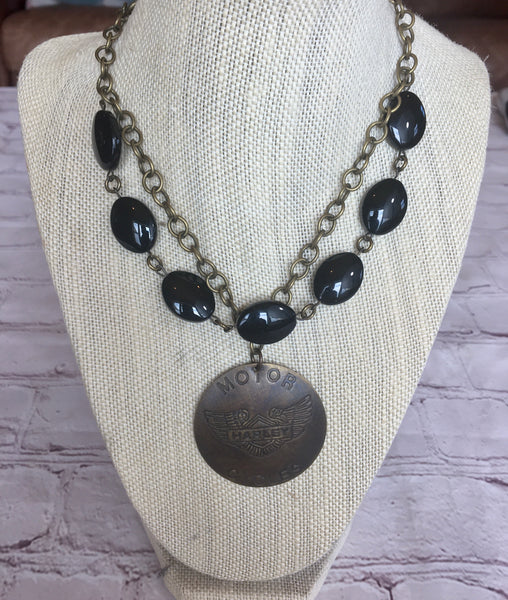 """Harley Motorcycle""  Handmade Necklace"