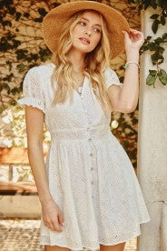 White Eyelet Mini Dress