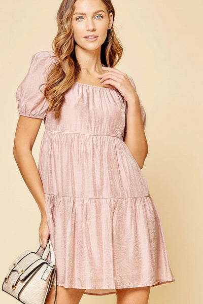 Shimmer Tiered Lavender Dress