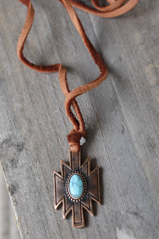 Leather Navajo Pendant Necklace