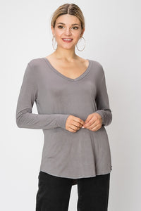 V-Neck Long Sleeve Gray Tee