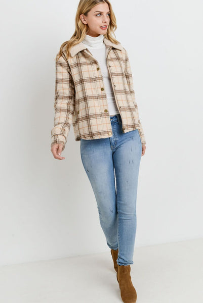 Plaid Fur Lined Jacket