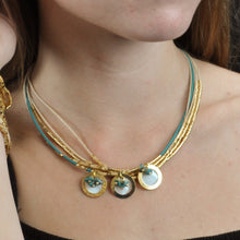 Load image into Gallery viewer, SN270TQ Necklace with Leather, Gold, Natural Fiber