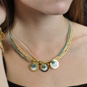 SN270TQ Necklace with Leather, Gold, Natural Fiber