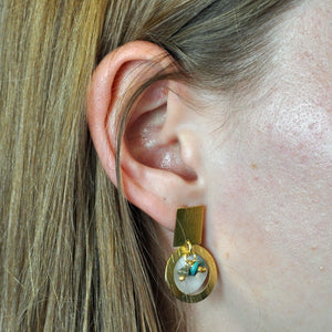 SE456TQ Earrings with Mother-of-Pearl and Turquoise