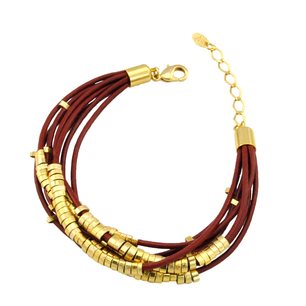 SB106D Terra-Cotta Leather Bracelet