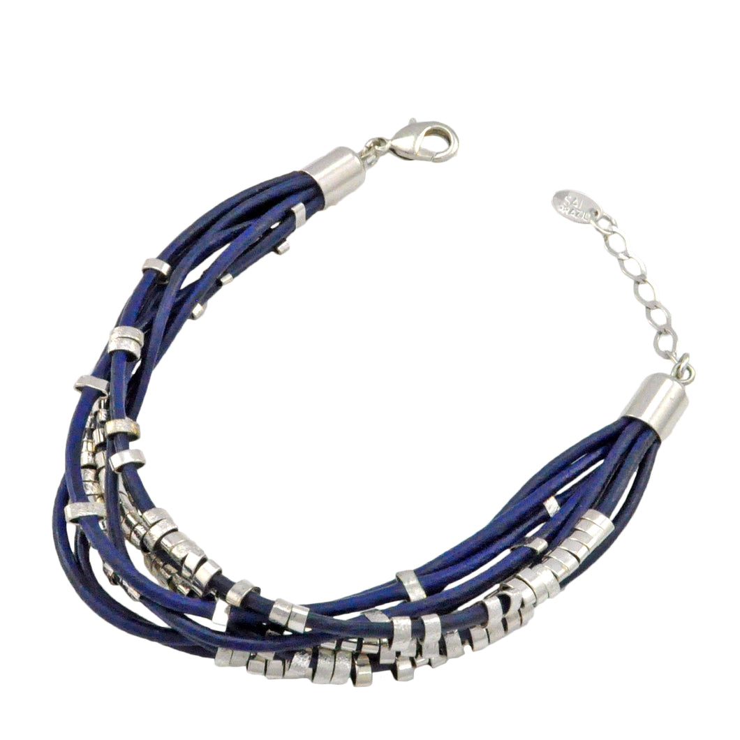 SB106RC Blue Leather Bracelet with Rhodium Bands