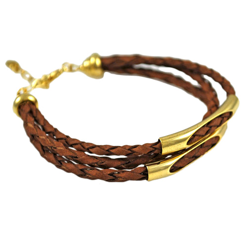 SB146A Braided Brown Leather Bracelet with 18k Gold
