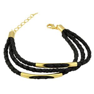 SB146 Braided Black Leather and 18k Gold Plated Bracelet