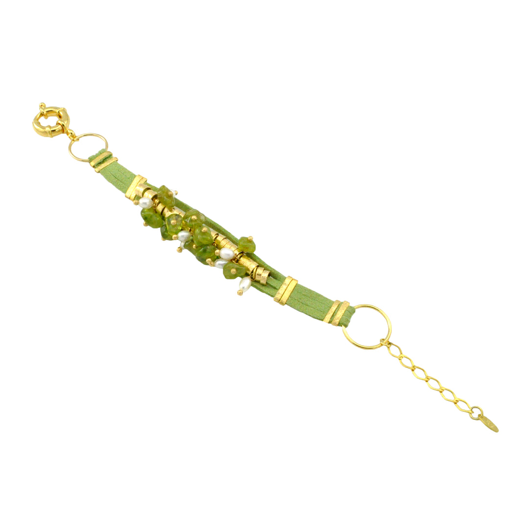 SB152PD Green Leather Bracelet with Peridot