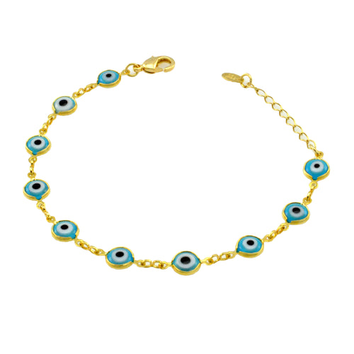 SB165BLU 18k Gold Plated Bracelet with Blue Evil Eyes