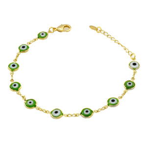 SB165GRE 18k Gold Plated Bracelet with Green Evil Eyes