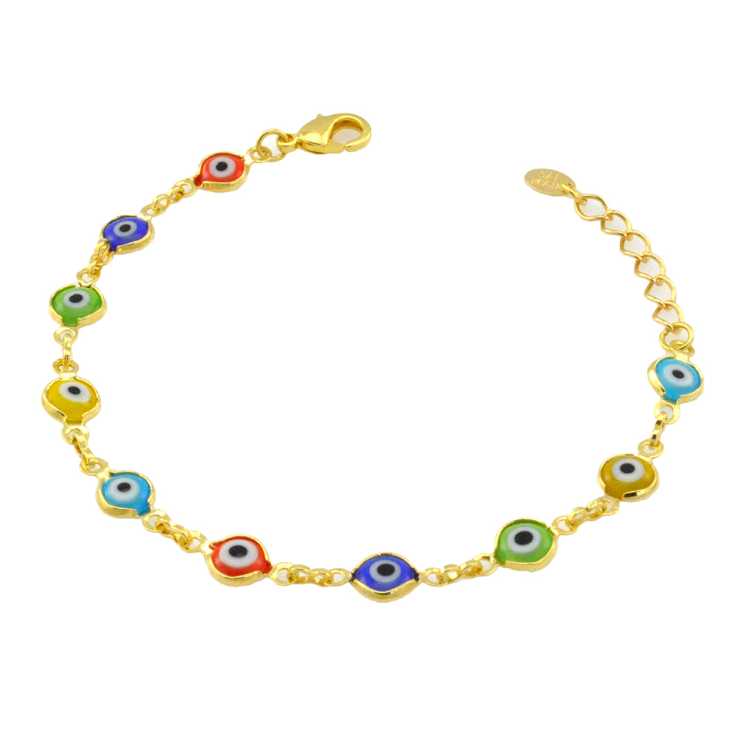 SB165MT 18k Gold Plated Bracelet with Mixed Evil Eyes
